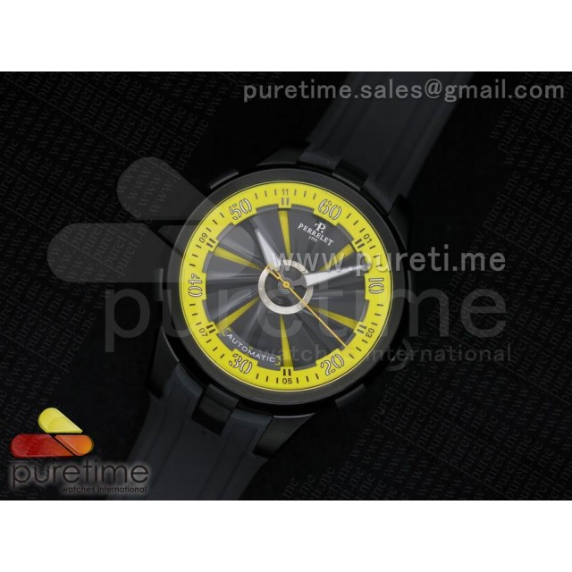 Cheap Discount Replica Turbine 44mm PVD Black/Yellow Rotating Dial Yellow Inner Bezel on Black Rubber Strap A23J