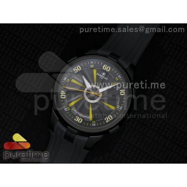 Cheap Discount Replica Turbine 44mm PVD Black/Yellow Rotating Dial on Black Rubber Strap A23J