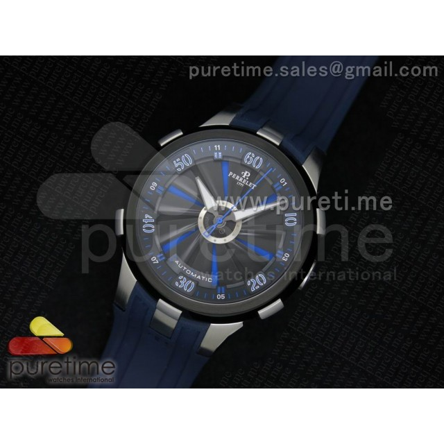 Cheap Discount Replica Turbine 44mm SS Black/Blue Rotating Dial on Blue Rubber Strap A23J