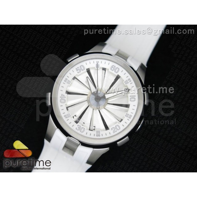 Cheap Discount Replica Turbine 44mm SS White/Black Rotating Dial White Inner Bezel on White Rubber Strap A23J