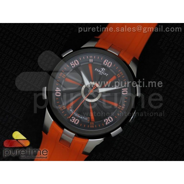 Cheap Discount Replica Turbine 44mm SS Black/Orange Rotating Dial on Orange Rubber Strap A23J