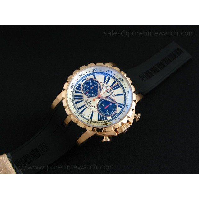 Cheap Discount Replica Excalibur Chronograph Rose Gold White Dial