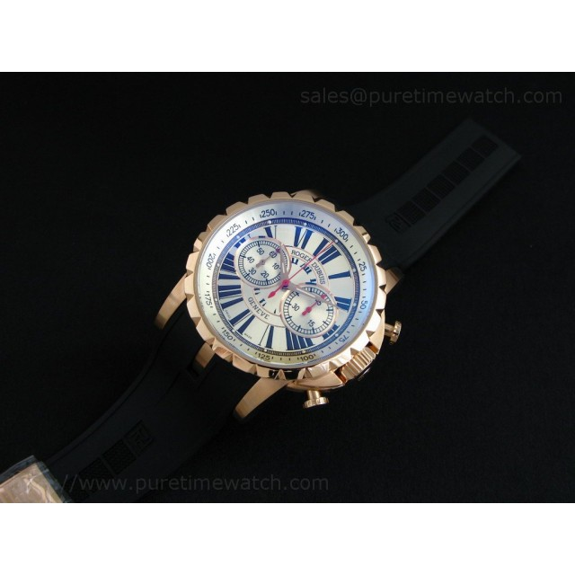 Cheap Discount Replica Excalibur Chronograph Rose Gold Sliver Dial