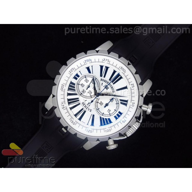Cheap Discount Replica Excalibur Chronograph Automatic SS White Dial on Rubber Strap