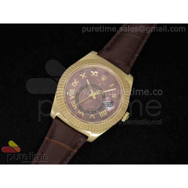 Cheap Discount Replica Sky-Dweller 326938 YG Brown Dial with Roman Number on Brown Leather Strap A21J