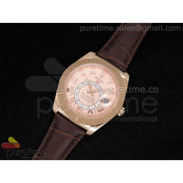 Cheap Discount Replica Sky-Dweller 326935 RG Rose Gold Dial on Brown Leather Strap A21J