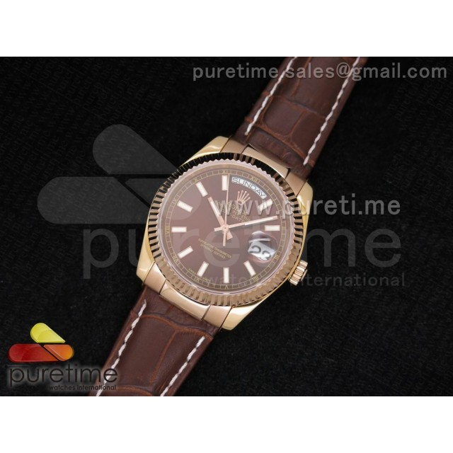 Cheap Discount Replica Day-Date 118135 RG Brown Dial on Brown Leather Strap A23J