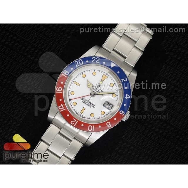 Cheap Discount Replica Vintage GMT-Master 6542 White Dial Blue/Red ETA2846