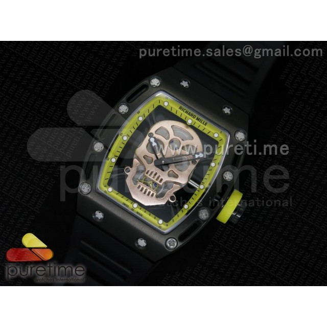 Cheap Discount Replica RM 052 Skull Watch Yellow PVD Rose Gold Skull Dial on Black Rubber Strap Jap Quartz