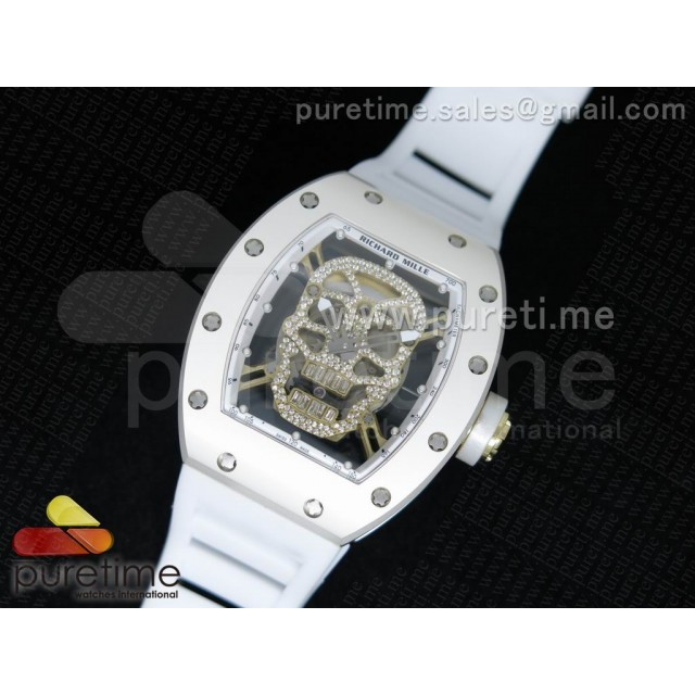 Cheap Discount Replica RM 052 Skull Watch SS/YG Diamonds Dial on White Rubber Strap 6T51