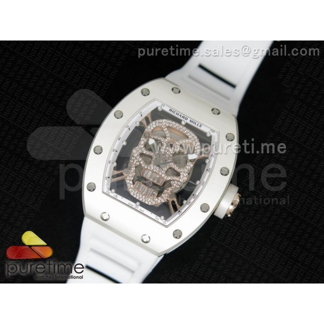 Cheap Discount Replica RM 052 Skull Watch SS/RG Diamonds Dial on White Rubber Strap 6T51