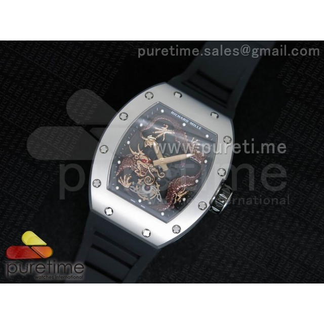 Cheap Discount Replica RM057 Dragon-Jackie Chan SS Brown Dragon Dial on Black Rubber Strap A2824
