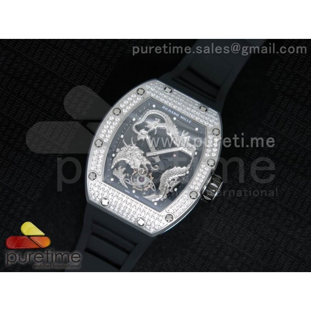 Cheap Discount Replica RM057 Dragon-Jackie Chan SS Silver Dragon Dial Diamonds Bezel on Black Rubber Strap A2824