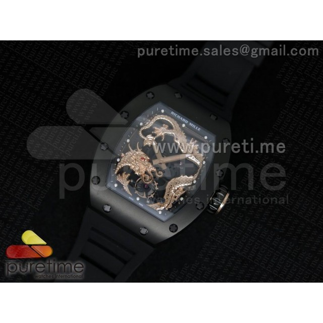 Cheap Discount Replica RM057 Dragon-Jackie Chan PVD Rose Gold Dragon Dial on Black Rubber Strap A2824