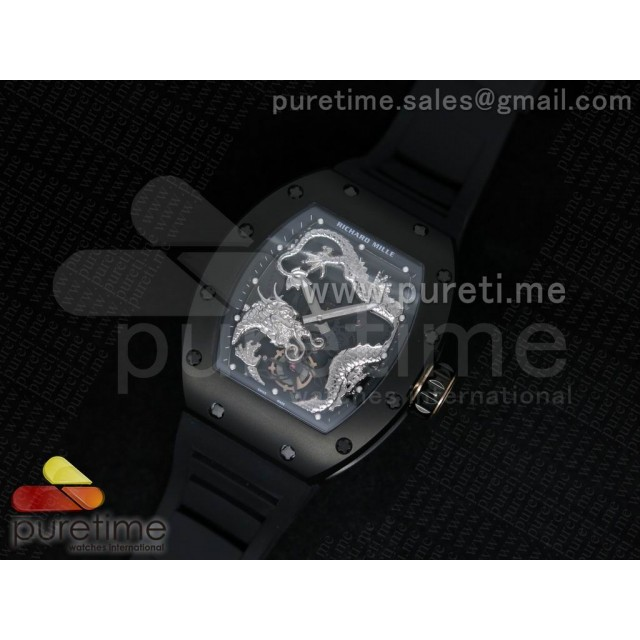 Cheap Discount Replica RM057 Dragon-Jackie Chan PVD Silver Dragon Dial on Black Rubber Strap A2824