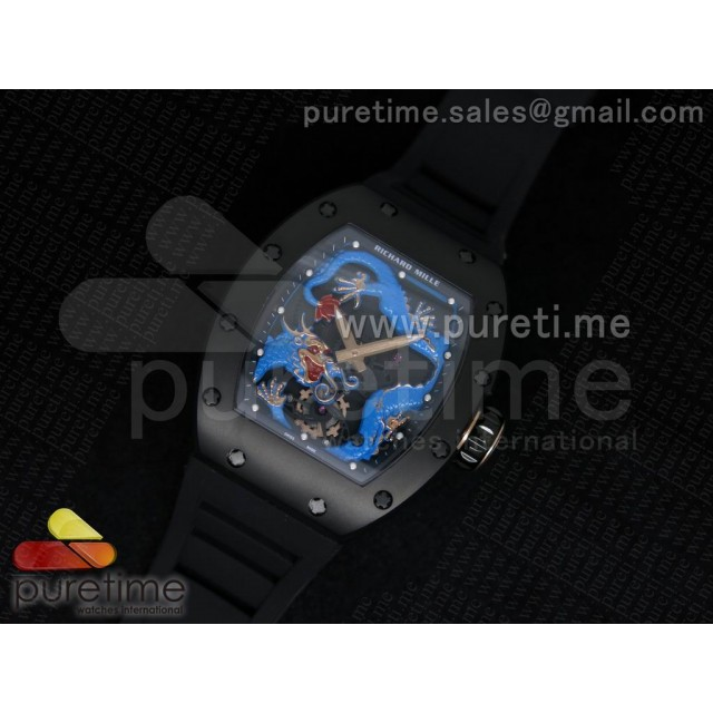 Cheap Discount Replica RM057 Dragon-Jackie Chan PVD Blue Dragon Dial on Black Rubber Strap A2824
