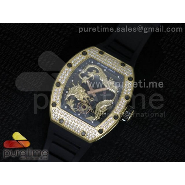 Cheap Discount Replica RM057 Dragon-Jackie Chan YG Yellow Gold Dragon Dial Diamonds Bezel on Black Rubber Strap A2824