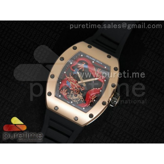 Cheap Discount Replica RM057 Dragon-Jackie Chan RG Red Dragon Dial on Black Rubber Strap A2824