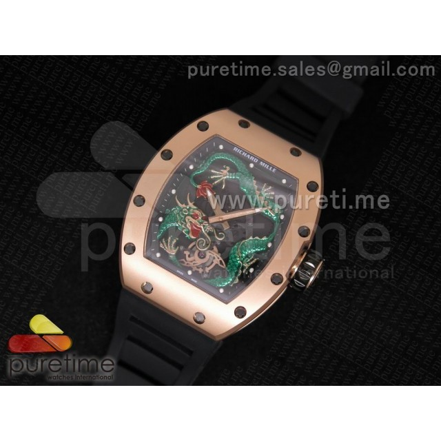 Cheap Discount Replica RM057 Dragon-Jackie Chan RG Green Dragon Dial on Black Rubber Strap A2824