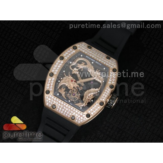 Cheap Discount Replica RM057 Dragon-Jackie Chan RG Rose Gold Dragon Dial Diamonds Bezel on Black Rubber Strap A2824