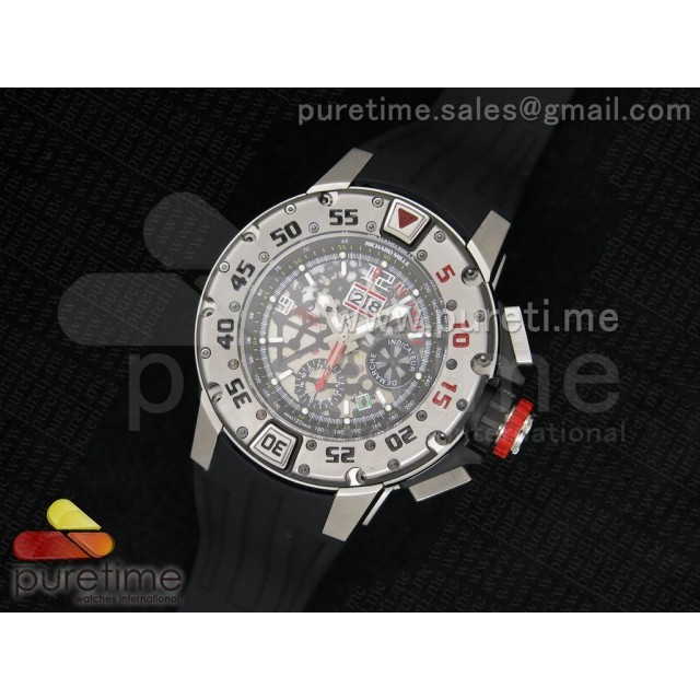 Cheap Discount Replica RM032 47mm SS Skeleton Dial on Black Rubber Strap A7750