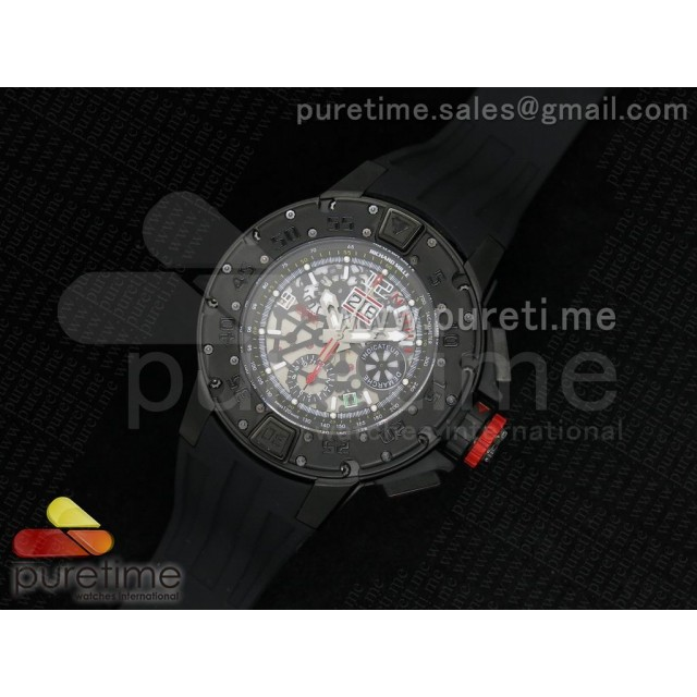 Cheap Discount Replica RM032 47mm PVD Skeleton Dial on Black Rubber Strap A7750