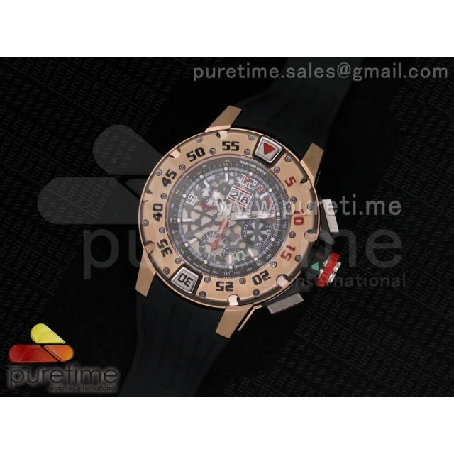Cheap Discount Replica RM032 47mm RG Skeleton Dial on Black Rubber Strap A7750