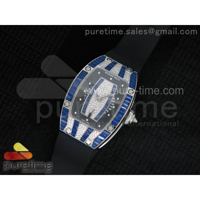 Cheap Discount Replica RM 007 Lady SS Full Paved Blue Crystal Case Diamonds Dial on Black Rubber Strap 6T51