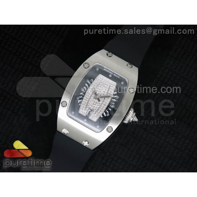 Cheap Discount Replica RM 007 Lady SS Diamonds Dial SS Case on Black Rubber Strap 6T51