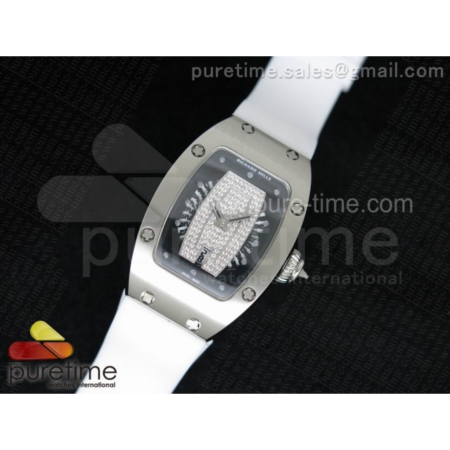 Cheap Discount Replica RM 007 Lady SS Diamonds Dial SS Case on White Rubber Strap 6T51
