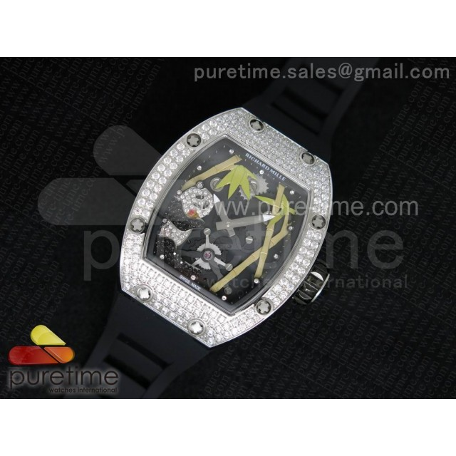 Cheap Discount Replica RM 026 SS Full Paved Diamonds Panda Dial on Black Rubber Strap 6T51