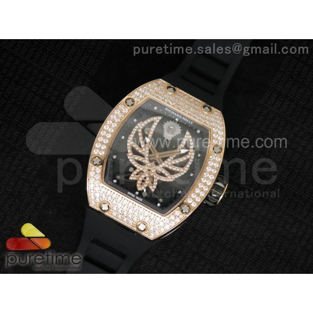 Cheap Discount Replica RM 051 RG Full Paved Diamonds Ph?nix Dial on Black Rubber Strap 6T51