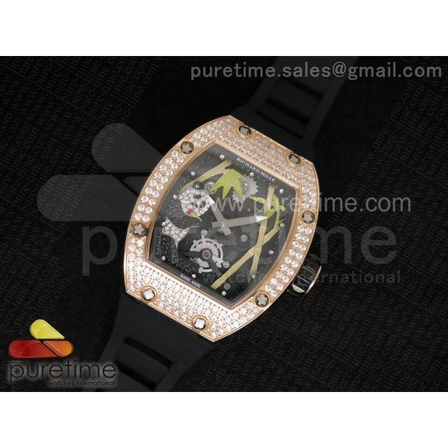 Cheap Discount Replica RM 026 RG Full Paved Diamonds Panda Dial on Black Rubber Strap 6T51
