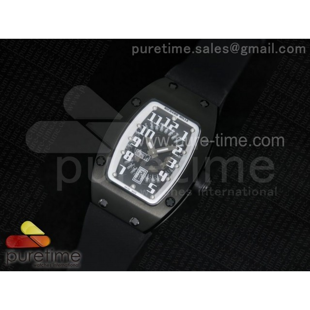 Cheap Discount Replica RM 007 Lady PVD White Inner Bezel Black Dial on Black Rubber Strap 6T51