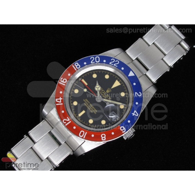 Cheap Discount Replica Vintage GMT-Master 6542 Black Dial Blue/Red ETA2846