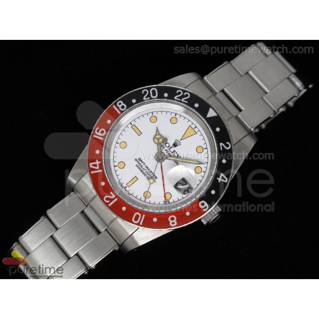 Cheap Discount Replica Vintage GMT-Master 6542 White Dial Black/Red ETA2846