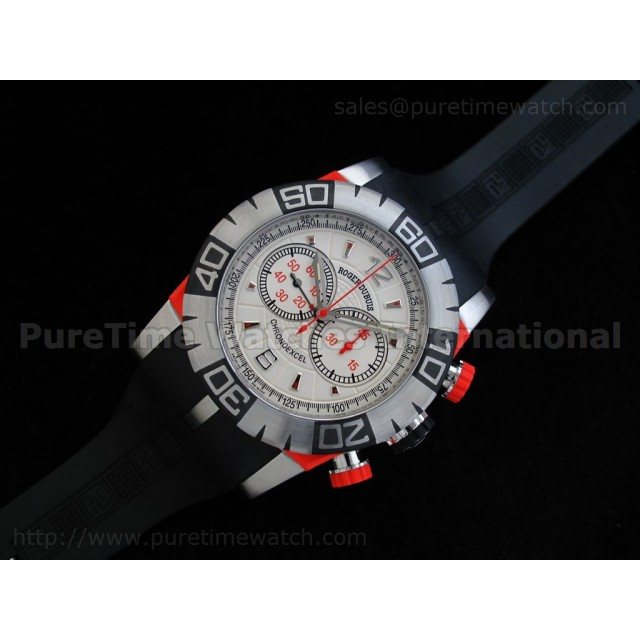Cheap Discount Replica Chronoexcel 1:1 Ultimate Edition Red SS White/Red Dial on Black Rubber Strap