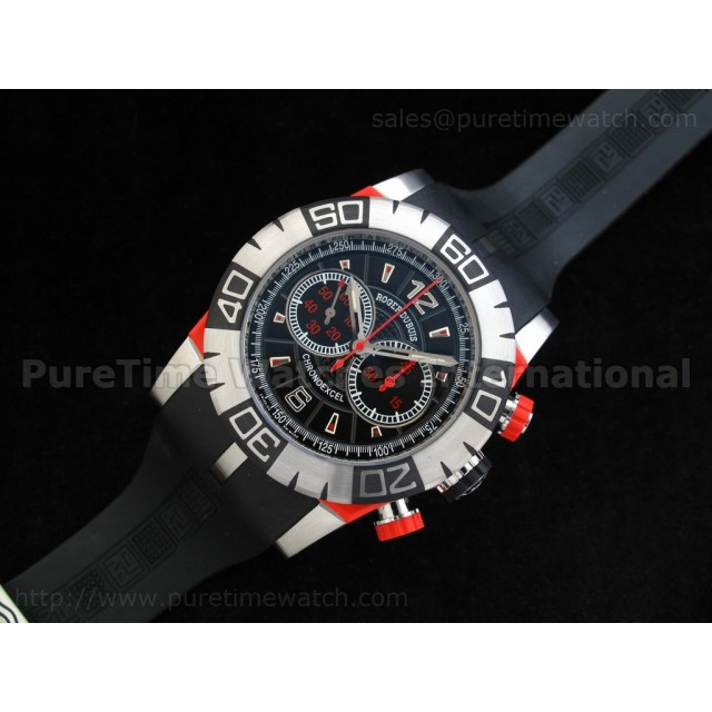 Cheap Discount Replica Chronoexcel 1:1 Ultimate Edition Red SS Black Dial on Black Rubber Strap