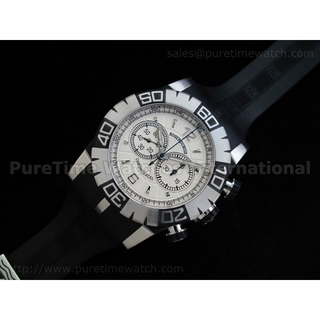 Cheap Discount Replica Chronoexcel 1:1 Ultimate Edition SS White Dial on Black Rubber Strap