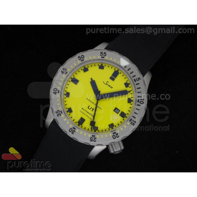 Cheap Discount Replica U1 JR Limited Edition Automatic Yellow Dial on Black Rubber Strap A2813