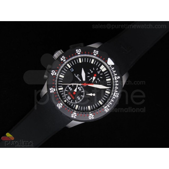 Cheap Discount Replica U1000 Chrono PVD Stainless Steel Black Dial Rubber A23J Auto