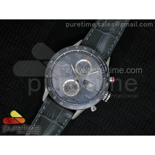 Cheap Discount Replica Carrera Calibre 1887 SS V6F 1:1 Best Edition Ceramic Bezel Gray Dial on Gray Leather Strap A7750