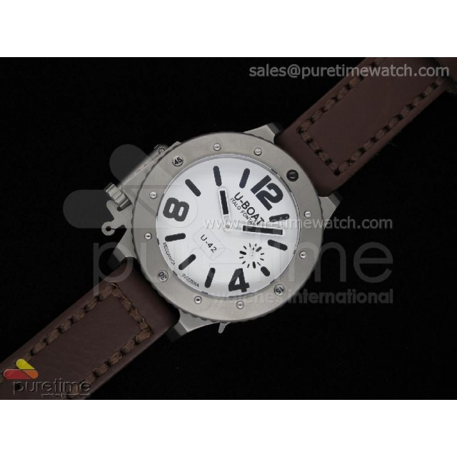 Cheap Discount Replica U42 Ti White Dial Black Mark on Brown Leather Strap 52mm A6497