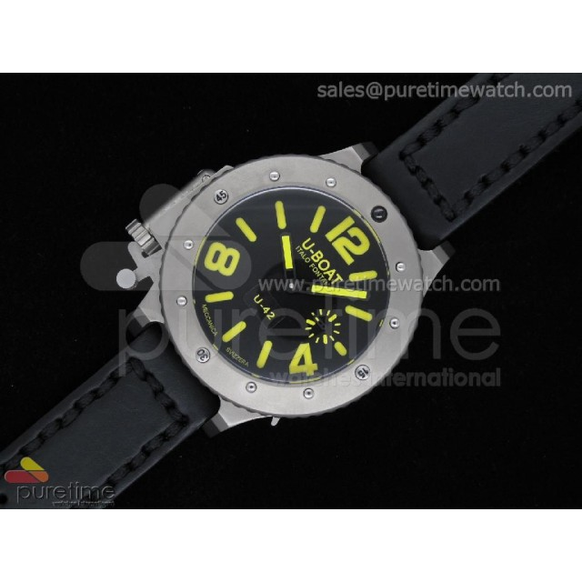 Cheap Discount Replica U42 Ti Black Dial Yellow Mark on Black Leather Strap 52mm A6497
