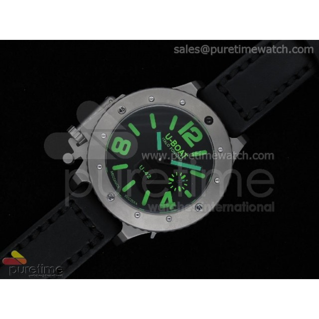 Cheap Discount Replica U42 Ti Black Dial Green Mark on Black Leather Strap 52mm A6497