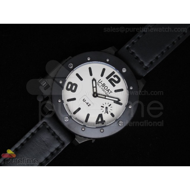 Cheap Discount Replica U42 PVD White Dial Black Mark on Black Leather Strap 52mm A6497