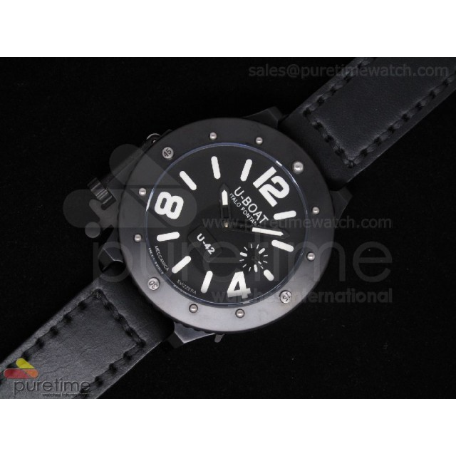 Cheap Discount Replica U42 PVD Black Dial White Mark on Black Leather Strap 52mm A6497