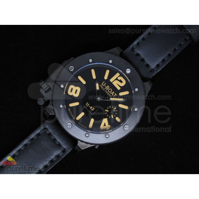 Cheap Discount Replica U42 PVD Black Dial Yellow Mark on Black Leather Strap 52mm A6497