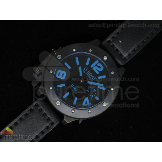 Cheap Discount Replica U42 PVD Black Dial Blue Mark on Black Leather Strap 52mm A6497