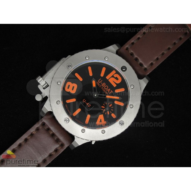 Cheap Discount Replica U42 SS Black Dial Orange Mark on Brown Leather Strap 52mm A6497